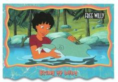1995 SkyBox Free Willy The Adventure Home Bring up baby Front Free Willy, Sports Gallery, Trading Card Database, Trading Cards, Adventure, Baby, Collector Cards, Adventure Movies, Baby Humor