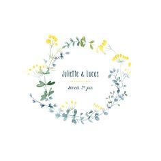 Faire-part de mariage Bouquet sauvage jaune Watercolor Birthday Cards, Watercolor Cards, Wreath Watercolor, Watercolor Flowers, Country Chic Party, Date Photo, Christening Invitations Boy, Custom Decal Stickers, Yellow Wedding Invitations