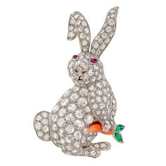 Diamond Rabbit with Coral Carrot Brooch | From a unique collection of vintage brooches at https://www.1stdibs.com/jewelry/brooches/brooches/