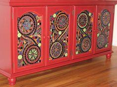 Kitchen Cabinet Mosaic by leannchristian, via Flickr Tile Art, Mosaic Art, Mirror Mosaic, Stone Mosaic, Mosaic Glass, Mosaic Tiles, Kitchen Mosaic, Mosaics, Tiling