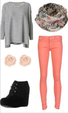 Fall teen fashion. Maybe with black or peach converse instead.