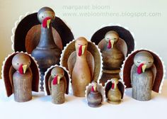 The other day I got it in my head to create turkey peg dolls. Rummaging through my stash for blank pegs, I ran across a few small woode. Thanksgiving Projects, Fall Projects, Craft Projects, Craft Ideas, Thanksgiving Pictures, Thanksgiving Activities, Happy Thanksgiving, Wood Peg Dolls, Clothespin Dolls