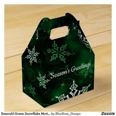 Emerald Green Snowflake Motif Gable Favor Box Holiday Parties, Holiday Cards, Christmas Cards, Christmas Favors, Christmas Card Holders, Favor Boxes, Hand Sanitizer, Corporate Events, Emerald Green