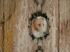 Greyhound Dog Cameo Whippet Green Tourmaline Crystal Points Queen Crown Jewels Renaissance Gypsy Necklace Ambient Atelier Art Jewelry Design by AmbientAtelier on Etsy
