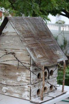 RUSTIC Utah Item # Large rustic birdhouse with decorative tin roof, square, white by magdatunci Bird House Feeder, Bird Feeders, Old Barn Wood, Bird Boxes, Wood Bird, Little Houses, Beautiful Birds, Utah, Shabby