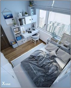 minimalist storage ideas for your small bedroom 32 ~ my.me minimalist storage ideas for your small bedroom 32 ~ my. Bedroom Setup, Room Design Bedroom, Small Room Bedroom, Room Ideas Bedroom, Small Rooms, Home Bedroom, Small Room Layouts, Bedroom Artwork, Trendy Bedroom