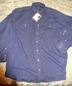 NWT Navy Blue Lakin Mckey Mens Western Pearl Snaps 2XLT  Long Sleeve Big Tall #LakinMckey #ButtonFront