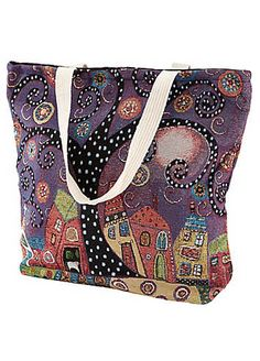 Stand out with this roomy shopper. We love the unique and intriguing pattern that really tells a story.  Brand: Joe Browns  100% Cotton  Size approx. 43L x 47W x 12D cm (17 x 18½ x 5 ins)  Strap length approx. 57 cm (22½ ins)