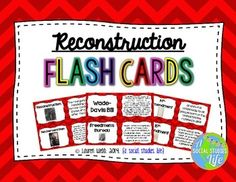 """Reconstruction Era Flash Cards Full Set of 49 vocabulary words/terms flash cards with definitions including: - Ten Percent Plan - Reconstruction - Poll Tax - Literacy Test - Grandfather Clause - & more! **This flash card set is a great activity to use for review. I print out a few sets, laminate back to back and have the students use them for review before a test/exam. Or, you can have the students utilize them if they """"finish early!"""" © Lauren Webb 2014 {a social studies life}"""