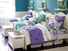 PBteen girls beadboard curved crinkle puff bedroom set. So cute for a several girl bedroom. Makes it cute to share a room!