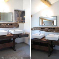 Eine alte Werkbank dient hier als Waschtischunterkonstruktion und Ablagefläche.Eine tolle Idee, mit rustikalem, natürlichem Charme.