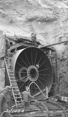 This 1942 photograph depicting preparation for a cut and cover section was created in association with the Appalachia Dam Project conducted by the Tennessee Valley Authority in the area including Cherokee, North Carolina.