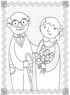 Mother's Day Coloring Page Grandma Short Hair Who Arted