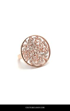 Tresor Collection - Signature Logo Diamond Ring In 18k Rose Gold | CoutureCandy.com