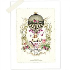 Marie Antoinette Art Print, Vintage Hot Air Balloon, Let them eat Cake, High Tea, Pink Roses, French Vintage Style,  Original Artwork. $20.00, via Etsy.