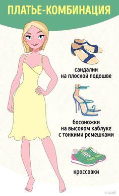 Повседневные, официальные, летние, праздничные — каких только платьев не бывает! И вариантов обуви к ним тоже множество. Поэтому часто возникает вопрос: как правильно их сочетать? AdMe.ru подготовил идеальный путеводитель, который поможет вам легко в этом сориентироваться.