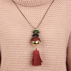 Vintage Handmade Red Leather Fringe Tassel Neklace Pendant Statement Long Chain