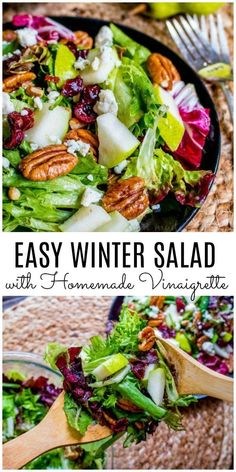 This simple winter salad recipe is full of winter fruits and nuts like pears and cranberries, and pecans and is topped with a homemade vinaigrette. This is the perfect side dish for holiday parties. Make this a Thanksgiving side dish or Christmas side dish. Winter salad also makes a great healthy lunch or healthy dinner recipe. #thanksgivingsidedishes #thanksgiving #christmas #salad #healthyeating #pears #sidedish #homemadeinterest