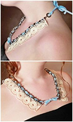 DIY Shabby and Sweet Lace Necklace - 32 Brilliant DIY Anthropologie Knockoffs