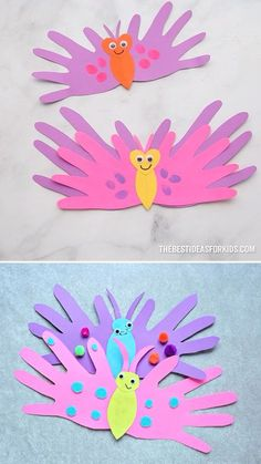 BUTTERFLY HANDPRINT CARDS - such a cute Mother's Day Craft for kids! Perfect for preschool or kindergarten too! Learn how to make this easy butterfly handprint card. These are the perfect card for preschoolers to make for Mother's Day! Toddler Arts And Crafts, Spring Crafts For Kids, Mothers Day Crafts For Kids, Craft Activities For Kids, Baby Crafts, Easter Crafts, Fun Crafts, Art For Kids, Children Crafts