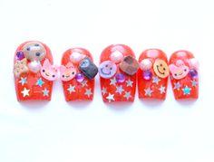 Japanese nail art 3D nails decoden fake sweets harajuku by Aya1gou, $19.50