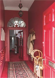 Browse thousands of interior and exterior images from Farrow & Ball. Be inspired with stunning home decor images and design ideas for your home. Farrow Ball, Red Paint Colors, Paint Color Schemes, Colour Red, Red Interiors, Colorful Interiors, Christmas Interiors, Hallway Inspiration, Hallway Ideas