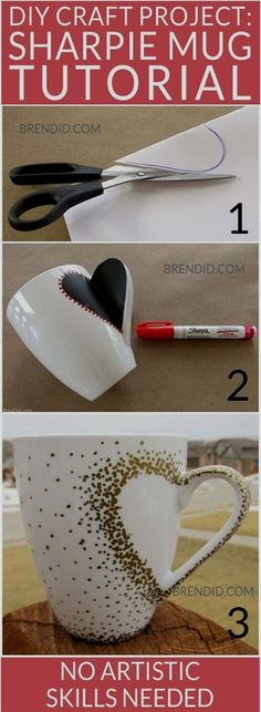 DIY Craft Project: Sharpie Mug Tutorial - Custom heart handle mugs that require no artistic ability or transfers! If you can trace and make dots you can make these mugs! Learn the easy hack! Uses oil based Sharpie paint pens that are baked on. Sharpie Paint Pens, Sharpie Crafts, Sharpie Mugs, Sharpies, Oil Sharpie, Diy Mugs, Sharpie Projects, Sharpie Markers, Cute Crafts