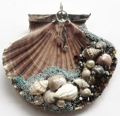 Decorated seashell could be used as an ornament or a pendant. Quite pretty.