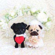 Needle felted pug Bride and Groom. by moana-lani
