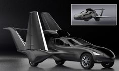 The 550mph Batmobile that flies! California designers reveal matt black flying car powered by a jet engine. Car expected to cost between $3-5m.   3500-lb thrust jet engine can fly to 12,000 m and speeds of 885 km. Electric motor can reach 120mph on the road.