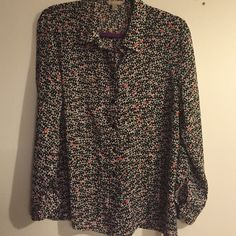 Banana Republic heart button up shirt How cute is this shirt? Sheer with pocket...love the hearts ❤️❤️❤️ full sleeves/is a petite large Banana Republic Tops Button Down Shirts