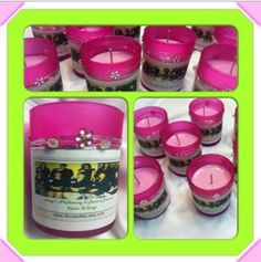 Customize your scented candle for any event! These were made for a Sorority for their anniversary!