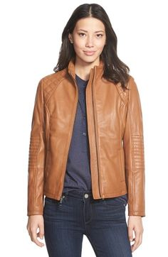 DKNY Quilt Detail Lambskin Leather Moto Jacket available at #Nordstrom