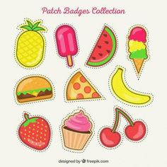 Set of hand drawn summer patches Free Vector Planner Stickers, Printable Stickers, Cute Stickers, Diy And Crafts, Crafts For Kids, Paper Crafts, Typographie Logo, Kawaii Doodles, Tumblr Stickers
