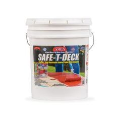 Ames Safe-T-Deck is a pure, water-based, environmentally friendly, adhesive acrylic latex safety paint that comes in a granulated non-skid formula perfect for decks and stairs. It preserves and protects Concrete Porch, Concrete Wood, Stained Concrete, Concrete Floors, Deck Stain And Sealer, Wood Deck Stain, Paint Stain, Grey Deck Paint, Painting Concrete