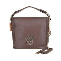 Michael Kors Pebbled Logo Medium Coffee Shoulder Bags - $79.99