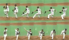 Sequence photographs which caught Yu Darvish's Pitching Form.