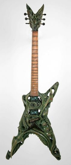 Carved Guitar by Tattoo Artist Aaron Cain