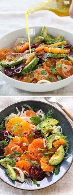 Citrus, Avocado and Fennel Salad Ajouter des crevettes pour une salade-repas Raw Food Recipes, Salad Recipes, Vegetarian Recipes, Cooking Recipes, Healthy Recipes, Fennel Recipes, Fast Recipes, Think Food, Food For Thought