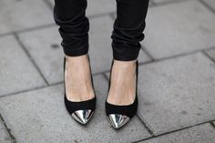 black shoes with metal point <3