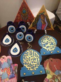 Ramadan Crafts, Ramadan Decorations, Pottery Painting Designs, Paint Designs, Greece Design, Teal Eyes, Cushion Embroidery, Homemade Art, Ceramic Wall Art