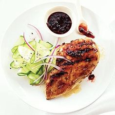 Raspberry-Chipotle Chicken Breasts with Cucumber Salad | MyRecipes.com