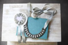 Paper rosette and washer necklace