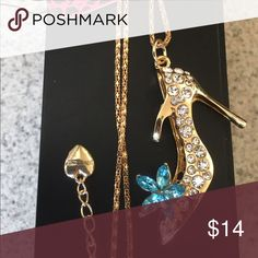 Betsey Johnson Flower Crystal High Heel Necklace Brand new with tag! Gorgeous gold tone necklace accented with silver rhinestones and blue crystals for the flower! Betsey Johnson Jewelry Necklaces