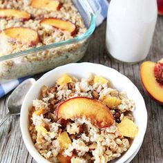 Baked Peach Almond Oatmeal. I just made this and it tastes wonderful! My brother actually likes it too. I suggest using crunchy peaches and when they bake, they'll turn out to be a bit softer and sooo sweet
