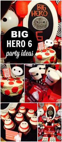 What a great Big Hero 6 party in red, black and white with a Japanese twist! See more party ideas at CatchMyParty.com!