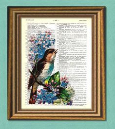 BIRD & BLUE FLOWER   Dictionary art Vintage by littlevintagechest, $7.99