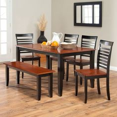 US $849.31 #diningroomfurniture Hardwood Modern Dining Table Set Premium 6 Piece Chairs Bench Seats Kitchen Room