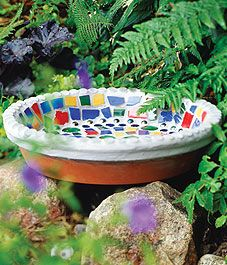 How to make a bird bath -- http://www.canadiangardening.com/design-and-decor/crafts/create-mosaic-art-to-display-in-the-garden/a/1619