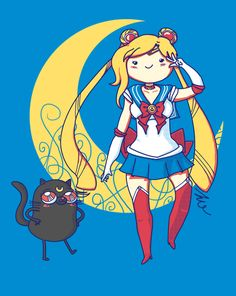 iOMG! Totally getting this... Adventure Time + Sailor Moon = Adventure Moon [by eriphyle on www.shirtpunch.com]
